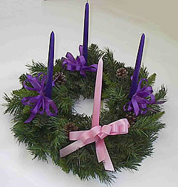 Advent Wreath: in some cases, the third week's candle is rose colored ...